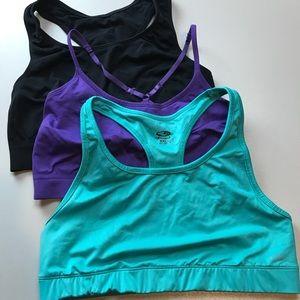 Lot of 3 Sports Bras by Champion XXL Purple, Black